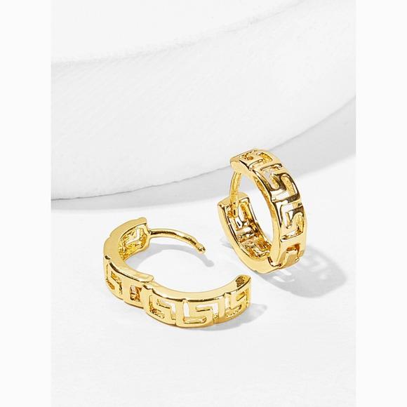 Small Simple Greek Design Gold Hoop Earrings